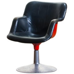 "1960s ""Junior"" Swivel Chair in Metal or Black Leather or Red by Yrjö Kukkapuro"