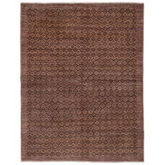 Brown Modern Afghan Rug, Mid-Century Modern, Diamond Pattern