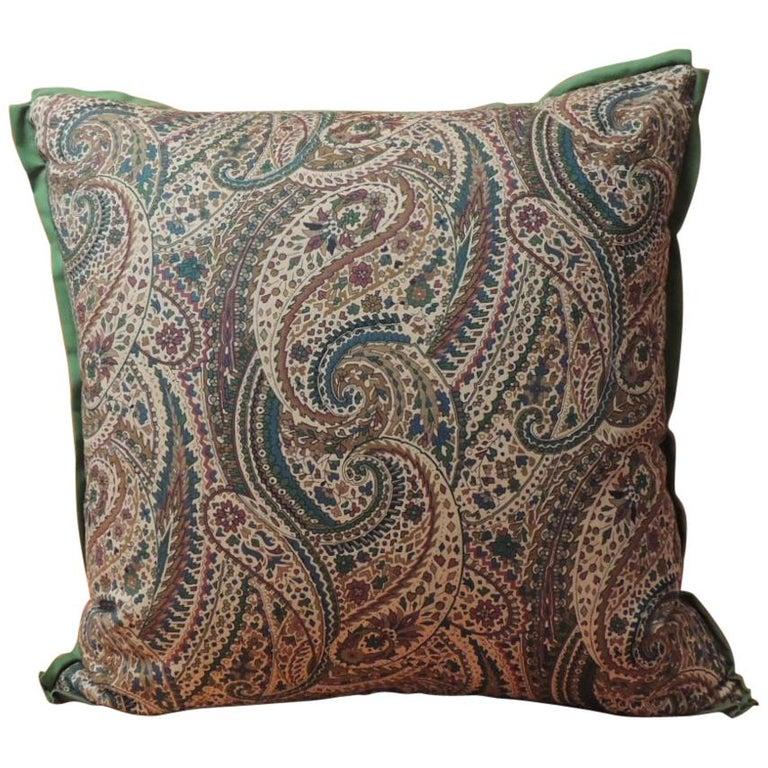 Vintage Cotton Printed Paisley Decorative Pillow For Sale