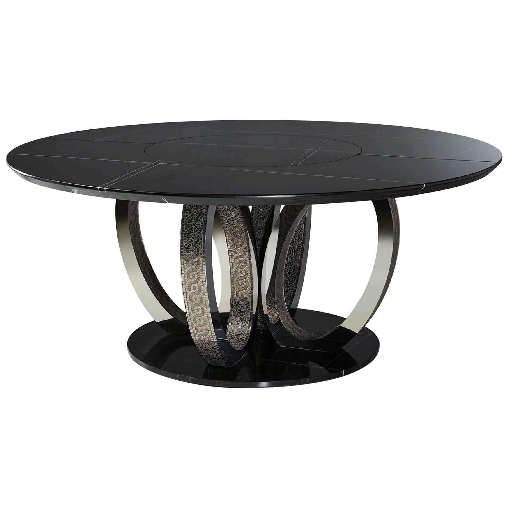 Beautiful Table Base and Top in Marble Rings in Bronze or Polished with Mosaic