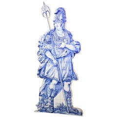 Blue and White Tile Soldier Silhouette