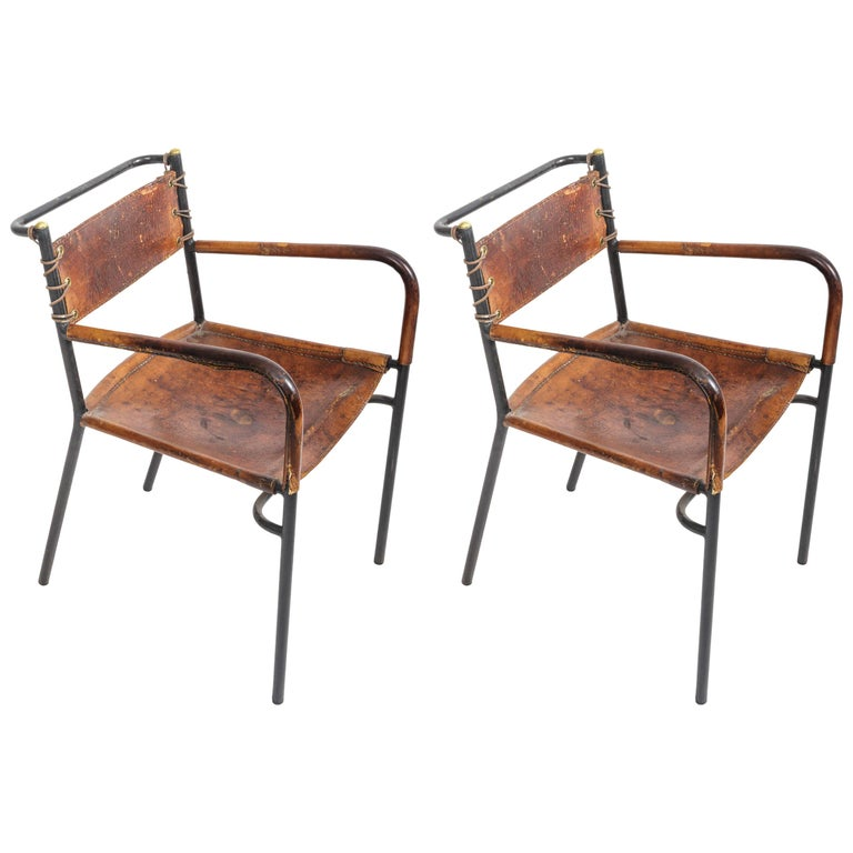 Leather and Metal Armchairs in the Style of Adnet For Sale