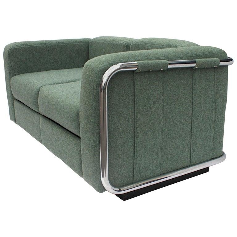 Vintage 1970s Tubular Chrome Mid-Century Modern Loveseat Sofa by Thonet For Sale