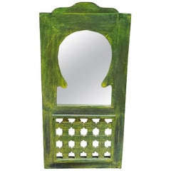 Moroccan Lime Green Wash Repurposed Wooden Frame, Mirror Extra