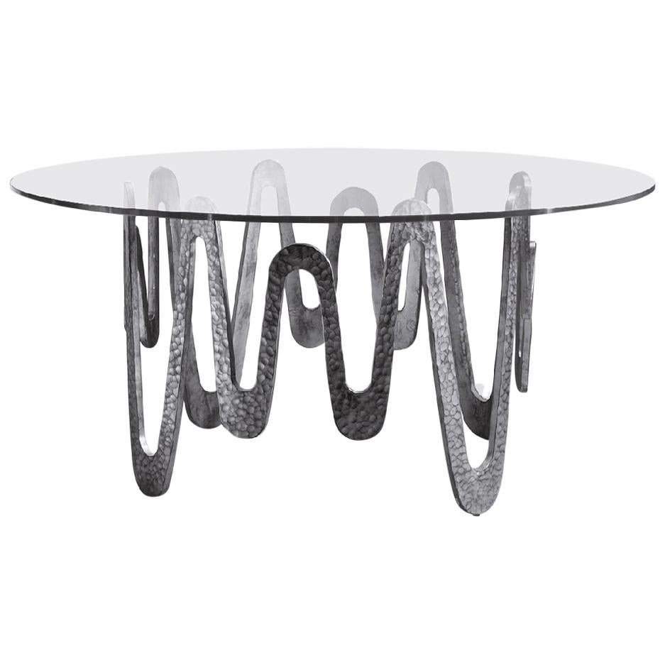 Fantastic Table with Hammered Base, Bronze or Silver Finish Glass Top