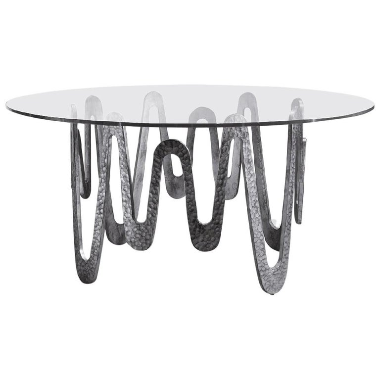 Fantastic Table with Hammered Base, Bronze or Silver Finish Glass Top For Sale