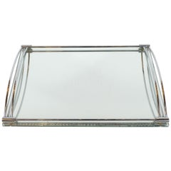 French Art Deco Streamlined Chrome and Chain Beveled Mirror Bar Tray