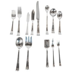 Allan Adler Sterling Sliver Modern Georgian Hand Wrought Flatware Service for 24