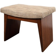 Art Deco Directoire Style Geometric Bookmatched Walnut Upholstered Bench