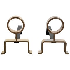 French Mid-Century Modern Geometric Brass Andirons, Manner of Jean Royère