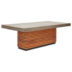 Outdoor Dining Table in Reinforced Concrete and Solid Teak