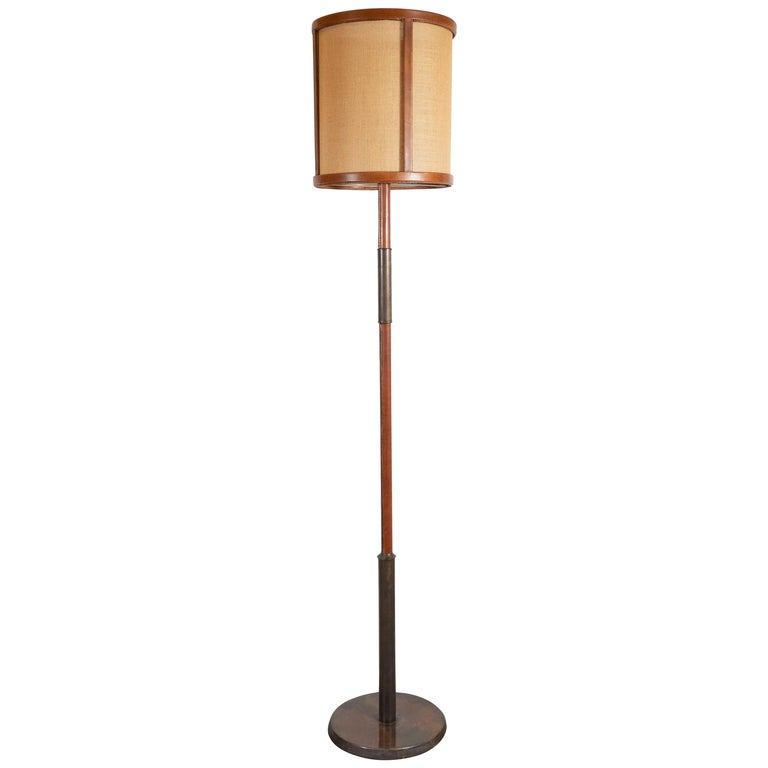 Mid-Century Modern Wrapped Leather and Bronze Floor Lamp, Style of Jacques Adnet For Sale