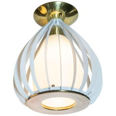 Mid-Century Modern White Enamel, Brass and Frosted Glass Lantern Chandelier