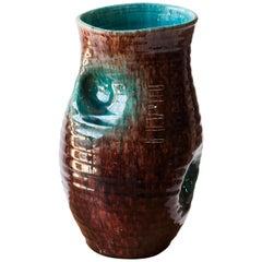 French 1960s Ceramic Dimple Vase