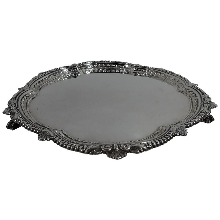 Fancy Antique English Sterling Silver Georgian Salver Tray For Sale