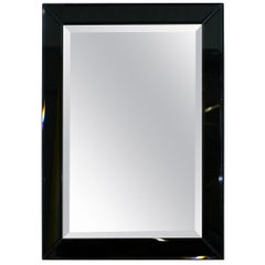 Lovely Bevelled Edge Mirror with Black Glass Bevelled Frame Velvet