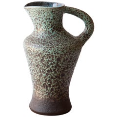French 1960s Ceramic Turquoise Speckled Pitcher