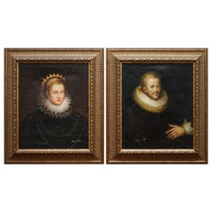 Pair of Signed Victorian Antique Style Oil Paintings Period Cracked Paint Finish