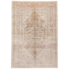 Neutral Hand Knotted Heriz Style Carpet