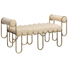 Apollo Loveseat, Brass Frame and Cream Wool by Lara Bohinc
