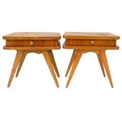 Pair of Midcentury Nightstands Bedside Tables French Side Cabinets, circa 1950