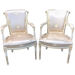 Pair of Italian Louis XVI Parcel-Gilt Armchairs