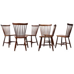 Set of 6 Tapiovaara Style Spindle Back Dining Chairs for Pastoe