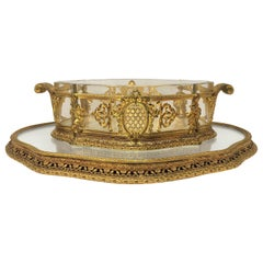 Antique French Bronze D'Ore Cut Crystal Centerpiece and Plateau, circa 1880s