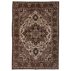 Brown Hand Knotted Heriz Style Carpet