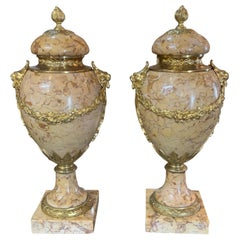 Pair of French Sierra Marble and Gilt Bronze Cassollettes