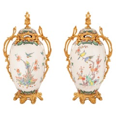 Pair of French 19th Century Louis XV Style Samson Porcelain and Ormolu Urns
