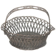 Sterling Silver Wire Basket with Handle