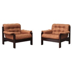 Arne Norell Pair of Leather Lounge Chairs for Illums Bolighus