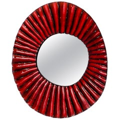 Stivale Ceramic Mirror in Red Glaze by Melissa Cromwell
