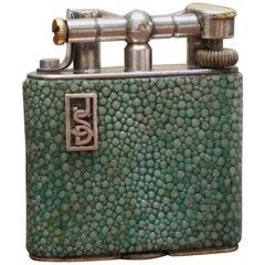 Rare 1930s Dunhill Shagreen Lighter Pat No 390107 Made in England Art Deco Era