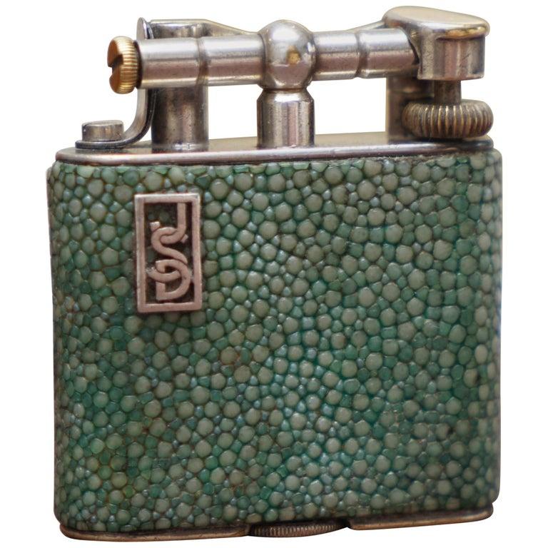 Rare 1930s Dunhill Shagreen Lighter Pat No 390107 Made in England Art Deco Era For Sale