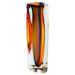 Thick Glass Vase, Sunrise Tall Triangle Glacier by Siemon & Salazar, in Stock