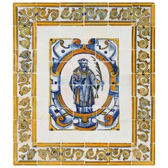 17th Century Portuguese Azulejos with Saint Vincent