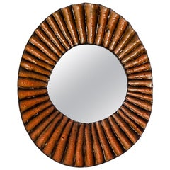 Stivale Ceramic Mirror in Pink Glaze by Melissa Cromwell