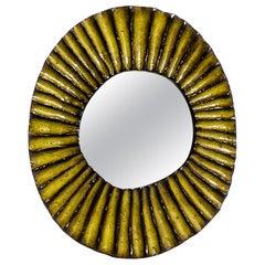 Stivale Ceramic Mirror in Yellow Glaze by Melissa Cromwell