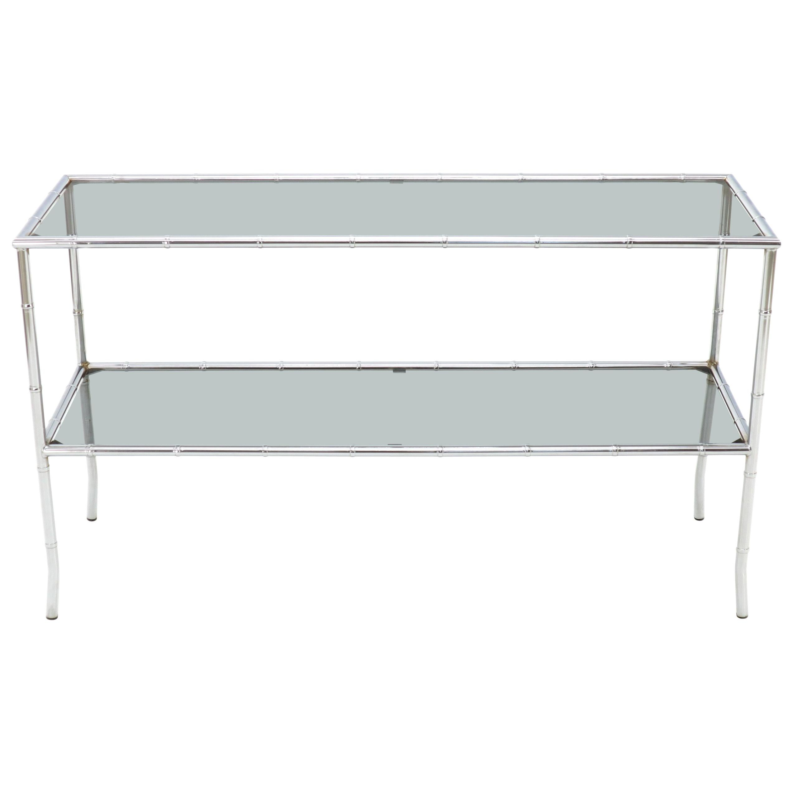 Faux Chrome Bamboo Smoked Glass Two-Tier Sofa Console Table