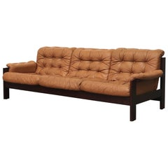 Arne Norell Inspired Butterscotch Tufted Leather Sofa for llums Bolighus