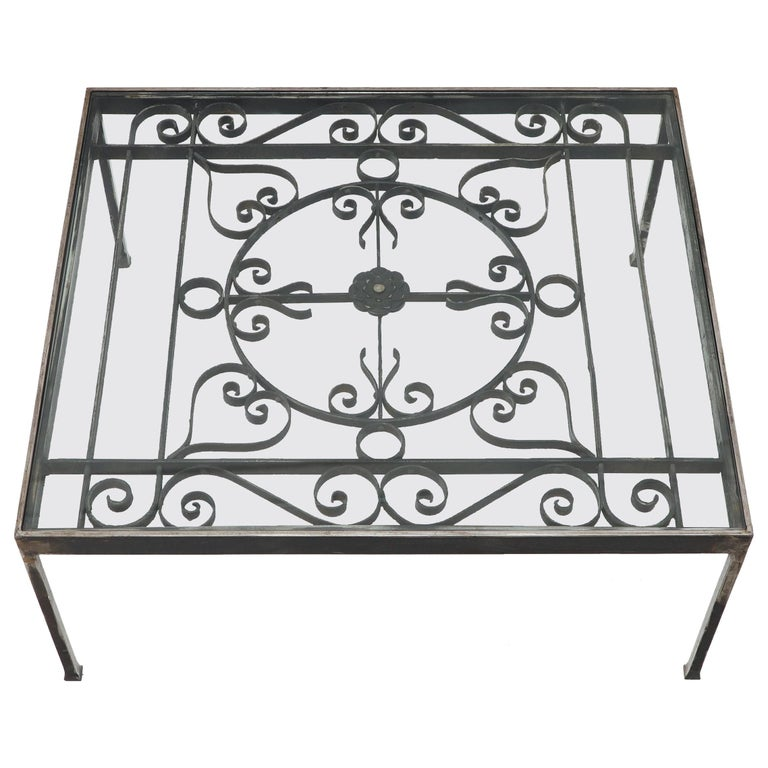 Massive Wide Rectangle Glass Top Wrought Iron Coffee Center Table For Sale