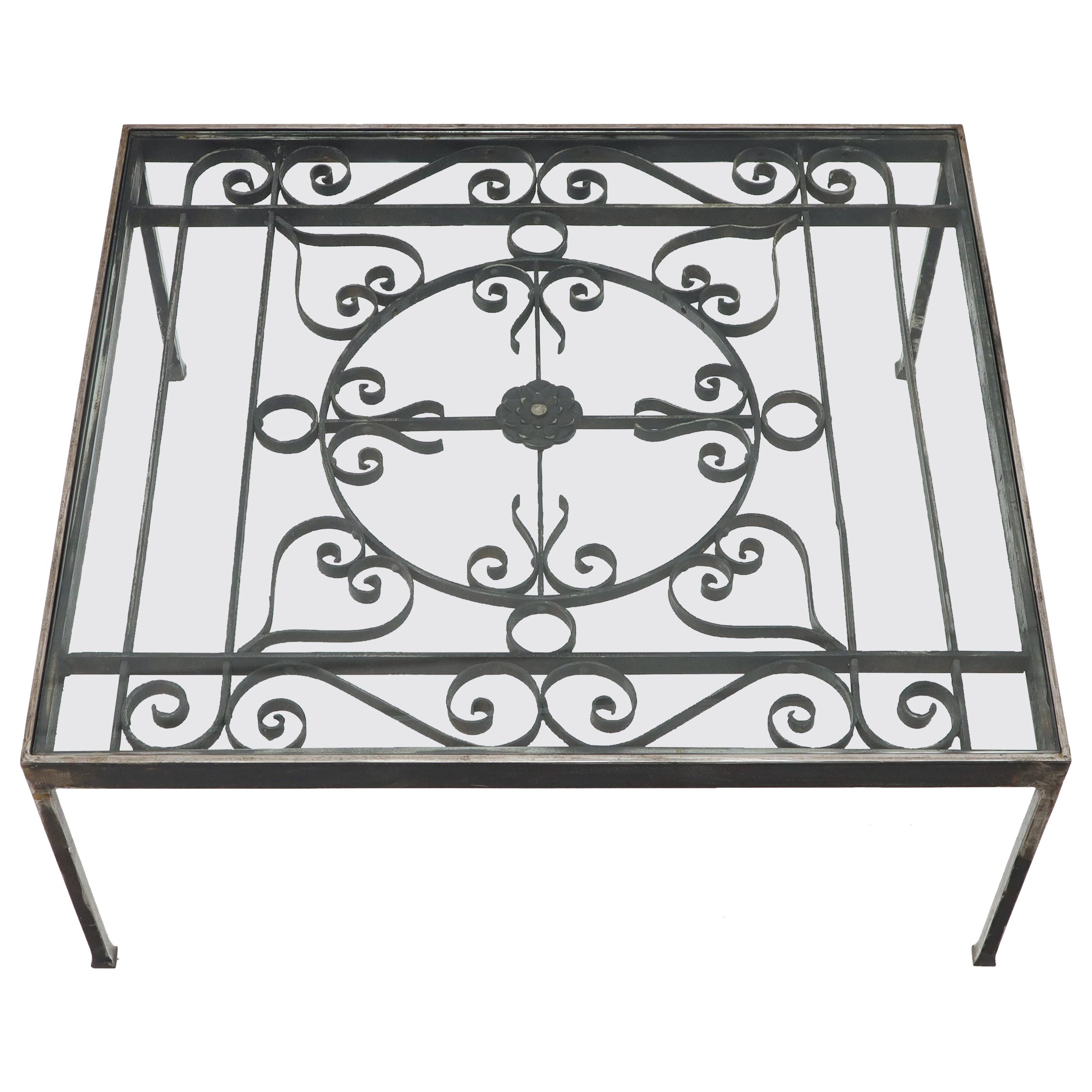 Massive Wide Rectangle Glass Top Wrought Iron Coffee Center Table