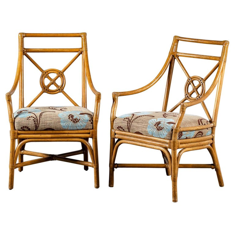 Pair Of Vintage Mcguire Bamboo Target Design Chairs Circa 1970