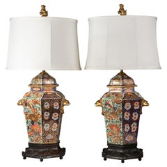 Pair of English Porcelain Hexagonal Imari-Pattern Lamps, Spode, circa 1820
