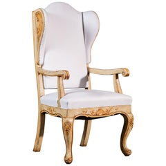 Unique Baroque Style Antique German Painted Wing Back Chair, circa 1850