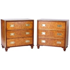 Pair of Midcentury Campaign Style Baker Chests
