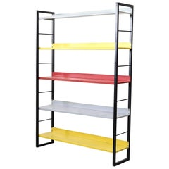 Bauhaus Inspired Tomado Enameled Metal Standing Bookshelf