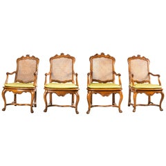 Group of Four Armchairs, Italy 18th Century Carved Walnut Italian Rococo Baroque